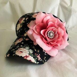 Floral Trucker Hat...embellishment hand sewn